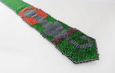 Beaded tie Cat at sunset green necktie for by LaGansaHandiwork