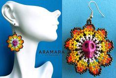 Huichol Skull Earrings 008 Mexican earrings Huichol earrings