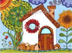 Mesekunyhó House Quilts, Building Art, Diy Canvas Art, Little Houses, Color Inspiration, Painted Rocks, New Art, Paint Colors, Fairy Tales