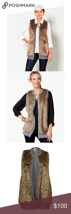 Open Front Gray Cable Knit Faux Fur Vest NWT $79 S MEGA SALE THRU SUNDAY NIGHT PRICE IS FIRM  Chic open front faux fur gray cable knit vest. Back is all cable knit sweater. NWT $79 S  BUY 3 or More and Get 20% OFF! NY Collection Jackets & Coats Vests