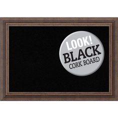 Distressed Rustic Brown, 21 In. x 15 In. Black Cork Board
