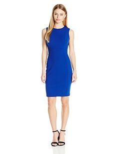 Calvin Klein Women's Petite Scuba Crepe Sleeveless Princess Seam Sheath Dress, Regatta, 12P