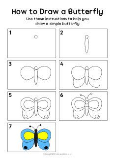 How to draw a butterfly instruction sheet