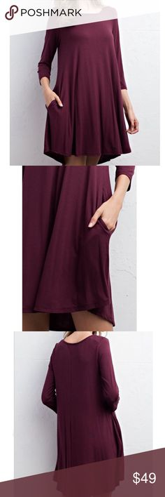 SWING DRESS Long Sleeve Mini Solid Pullover Tunic Available Sizes: S, M, L. Brand New.  • Beautiful & sophisticated, this swingy mini dress is perfect for dressing up or down. • Features 3/4 length sleeves, rounded seamed neckline & side hip pockets.  • Lightweight, semi-stretchy silhouette, unlined. • Color is a deep reddish maroon. • Rayon, Spandex. • Measurements in comment(s) section below.    {Southern Girl Fashion - Boutique Policy}   ✔️ Same-Business-Day Shipping (10am CT). ✔️ Price…