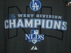 Los Angeles LA Dodgers 2008 NL West Champions T-Shirt Tee Mens Size X-Large (XL)