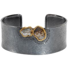 18ky gold and sterling silver with patina, raw diamonds (9.985ctw) and black brilliant cut diamonds (.325ctw)