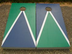 Custom Design YOU PICK COLORS Hand Painted Wood Durable Triangle Cornhole Baggo Board Game Set. $135.00, via Etsy.