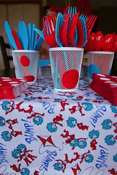 Kara's Party Ideas Dr. Seuss Boy Girl Cat in the Hat 1st Birthday Party Planning Ideas