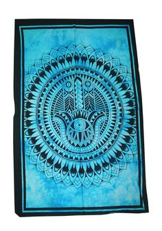 Fatima Hamsa Hand Tapestry Indian Wall Decor Art Wall Hanging Poster Turquoise 1