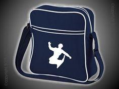 Retro Flight Bag blau/weiß mit Motiv/Spruch von Jajis-ART auf DaWanda.com