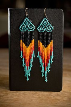 Seed bead native american style earrings: