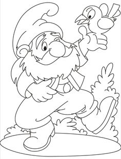 what a game a gnome and a bird on his hand coloring pages