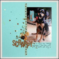 12x12 Dog scrapbook layout by May Flaum using 28 Lilac Lane embellishments.