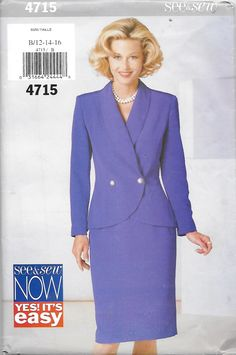 Butterick 4715 See & Sew Misses' Jacket and Skirt Suit Sewing Pattern Size 12 to 16 Bust 34 to 38 by Denisecraft on Etsy