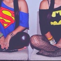 Batman and Superman -- love the shirts!