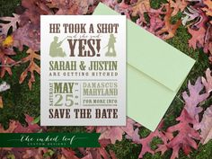 Hunting-Themed Custom Save the Date Cards from The Inked Leaf on Etsy #typography #woods #rustic