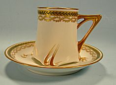 Unusual Art Nouveau Limoges Demitasse Cup and Saucer