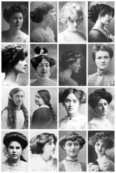 A collection of Edwardian photographs, depicting some of the hairstyles of the time, like the Low Pompadour. Hatpin Hairstyle. Side-Swirls. Flapper (The title 'Flapper' originally referred to teenage girls who wore their hair in single plait which often terminated in a wide ribbon bow.) & the pompadour.| THE VINTAGE THIMBLE
