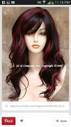 Balayage Haare Blond - dark brown hair color with fashion red highlights Hair Highlights Price, Hair Color Highlights, Hair Color For Black Hair, Cool Hair Color, Black Highlights, Chunky Highlights, Caramel Highlights, Black Hair With Red Highlights, Brown Hair