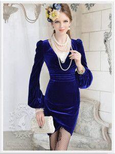 Vestidos de terciopelo azul 2015 8