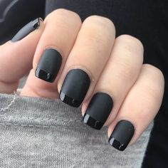 I love this idea of a monochromatic mani where everything is matte except for glossy tips!