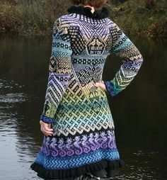 Amazing knitted jacket made of left-over yarn. The pattern are put together of different patterns from mittens she has knitted earlier. #knitting