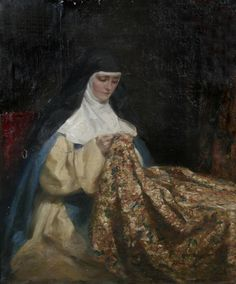 A Nun Embroidering Fabric by English Painter Talbot Hughes John Everett Millais, Bride Of Christ, Religion, Miniature Portraits, Sewing Art, Pre Raphaelite, Historical Costume, Religious Art, Catholic Art