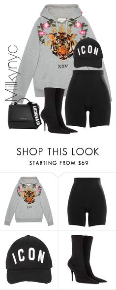 """""""Untitled #1022"""" by milkynyc ❤ liked on Polyvore featuring Gucci, SPANX, Dsquared2, Balenciaga and Givenchy"""