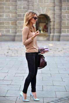 Blue high heels, skinny black jeans and adorable ladies brown bag