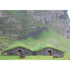 online source - tree roof of grass. i consider this to be natural because it wouldnt be the same building if the trees were not upkept and maintained