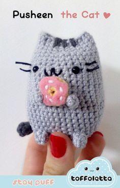 Pusheen the cat cute kawaii amigurumi by Toffoletta Crochet Kawaii, Chat Crochet, Crochet Gratis, Crochet Cross, Diy Crochet, Crochet Dolls, Amigurumi Patterns, Crochet Patterns, Cat Amigurumi