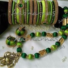 Silk Thread Bangles Design, Silk Thread Necklace, Silk Bangles, Beaded Necklace Patterns, Thread Jewellery, Beaded Bracelets, Jewellery Making, Necklace Set, Bridal Jewelry