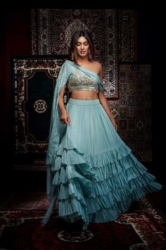 Royal Modernity: Salian by Anushree designs a wedding-perfect repertoire with modern cuts and robust traditional embroidery details. WhatsApp us now for personal shopping experience! Indian Fashion Dresses, Indian Gowns Dresses, Dress Indian Style, Indian Designer Outfits, Indian Fashion Modern, Fashion Outfits, Fashion Styles, Lehnga Dress, Lehenga Choli