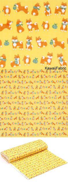 yellow double gauze fabric cute shiba inu dog animal from Japan - Kawaii Fabric Shop Michael Miller, Chien Shiba Inu, Cosmo, Modes4u, Textiles, Kawaii, Fabric Shop, Double Gauze Fabric, Fabric Design