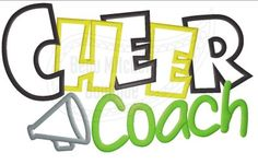 Cheer Coach with a megaphone applique embroidery design