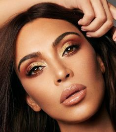 Pinterest: DeborahPraha ♥️ kim kardashian gold and bronze makeup with nude lipstick for KKW beauty