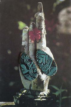 2 CABOCHONS BOHEMES - FLORAL - FIMO - ARGILE POLYMERE : Accessoires pour bijoux par atelier-fujigirls