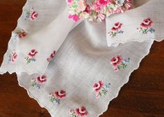 Vintage Swiss Petit Point Embroidered Roses Hanky All 4 Corners | eBay