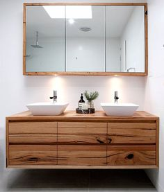 recycled timber vanity created from Messmate timber with lots of natural character- Iluka vanity by Bombora Custom Furniture Australia Timber Bathroom Vanities, Timber Vanity, Bathroom Renos, Laundry In Bathroom, Bathroom Furniture, Wood Vanity, Contemporary Bathrooms, Modern Bathroom, Small Bathroom