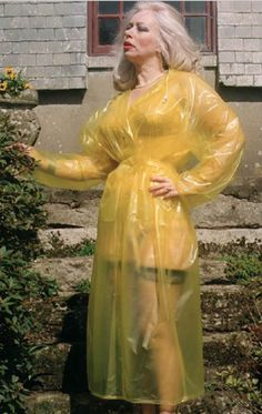 Vinyl Raincoat, Plastic Raincoat, Plastic Pants, Plastic Mac, Vinyl Clothing, Yellow Raincoat, Rain Gear, Older Women, Kinky