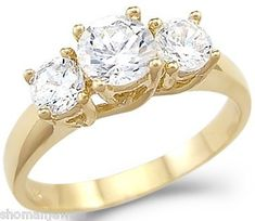 Solid 14k Yellow Gold 3 Three Stone Engagement CZ Cubic Zirconia Ring New Round Cut 1.25 ct Sonia Jewels. $289.00