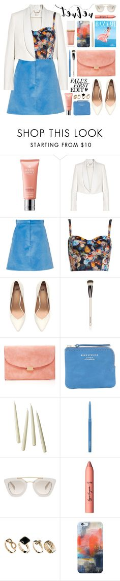"""""""crushing it: summer to fall velvet"""" by jesuisunlapin ❤ liked on Polyvore featuring Molton Brown, Chloé, Carven, Topshop, H&M, Chantecaille, Mansur Gavriel, Acne Studios, Serena & Lily and MAC Cosmetics"""