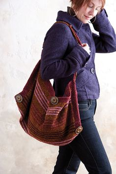 I want to use tweed and sew a similar bag..............Folded tweed bag by Kathy Merrick.