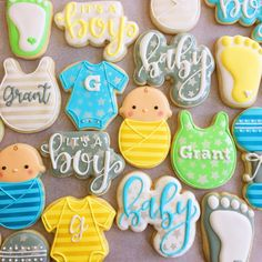 Loved the colors for these baby boy shower cookies! Baby Cookies, Baby Shower Cookies, Cute Cookies, Sugar Cookies, Cookie Icing, Royal Icing Cookies, Welcome Baby Boys, Baby Boy Shower, Cookie Decorating