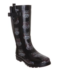 Look at this #zulilyfind! Capelli New York Black Shiny Owl Rain Boot by Capelli New York #zulilyfinds