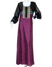 aljalabiya.com: Cotton and polyester print jalabiya with chiffon arms and embroidery on chest (N-10486)    $84.00