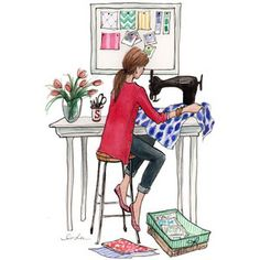 """introducing Dear Stella, a new fabric design company! Dear Stella launched its new website and I helped out with this """"About Page"""" illustration of the Stella gi Sewing Art, Sewing Crafts, Sewing Projects, Sewing Paterns, Dress Sewing, Sewing Ideas, Do It Yourself Mode, Illustration Mode, Illustration Fashion"""