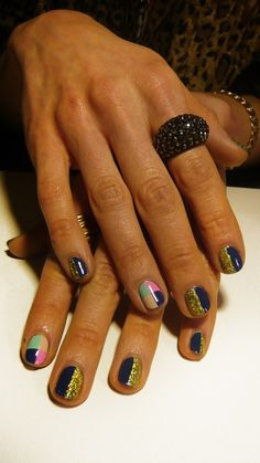 love the gold and blue nails :)