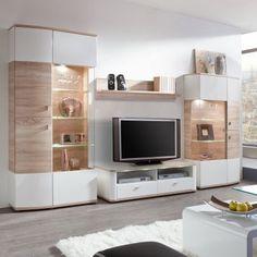 Ensemble de meubles TV Carrick (4 éléments) - Blanc brillant / Imitation chêne brut de sciage
