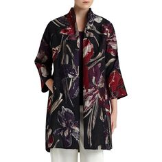 Lafayette 148 New York Mary Floral Jacquard Topper Coat ($545) ❤ liked on Polyvore featuring outerwear, coats, black mult, jacquard coat, lafayette 148 new york, a line coat, floral coat and floral print coat